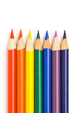 Rainbow colors in pencils. All rainbow colors in sharpened drawing pencils, isolated on white Royalty Free Stock Images