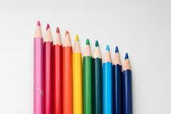 Rainbow colors pencils close up. Isolated on white background Stock Photo