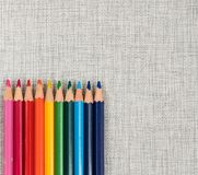 Rainbow colors pencils close up. Isolated on white background Royalty Free Stock Photos