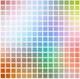 Rainbow colors rounded mosaic background over white square Stock Illustration
