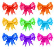 Rainbow colors satin gift bow set Stock Photo