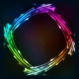 Rainbow colors shining neon lights frame Royalty Free Stock Image