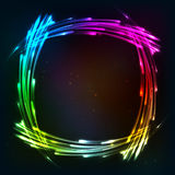 Rainbow colors shining neon lights frame royalty free illustration