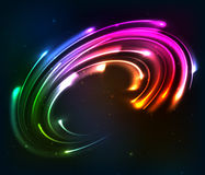 Rainbow colors shining neon lights twirl Stock Image