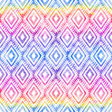 Rainbow colors tribal ornament on white vector seamless pattern Stock Photos