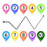Rainbow colors vector map point markers on white. Stock Photography