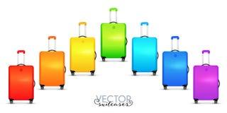 Rainbow colors vector traveler suitcases on wheels set stock illustration