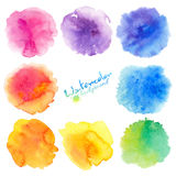 Rainbow colors watercolor paint stains backgrounds set Stock Photo