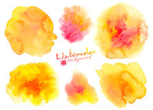 Rainbow colors watercolor paint stains backgrounds set Stock Photos