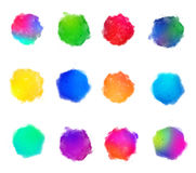 Rainbow Colors Watercolor Paint Stains Vector Backgrounds Set. Art Stock Photography