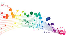 Rainbow colors in a wave - Vector image. Rainbow colors in a wave of hearts an circles - Vector image Stock Image