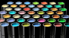 Rainbow colors of wet paint in metal cans. royalty free illustration