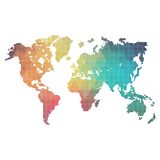 Rainbow colors world map made from dots Stock Image