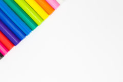 Rainbow colour of art clay sticks top left coner side Stock Images