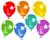 Rainbow colour balloons. Assortment of isolated balloons using all the colours of the rainbow Stock Image