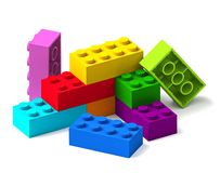 Rainbow colour building toy blocks 3D. Starting to build from rainbow color building toy blocks 3D isolated on white background stock illustration