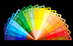 Rainbow colour film. The rainbow colour films in half rounding with music notes in dark background stock illustration
