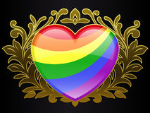 Rainbow colour heart with golden ornamental crest Royalty Free Stock Image