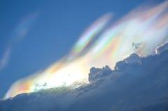 Rainbow colour over raincloud in the sky Stock Photo