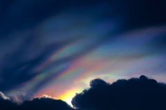 Rainbow colour over raincloud in the sky Royalty Free Stock Photo