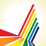 Rainbow coloured arrow line perspective background Stock Photos