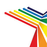 Rainbow coloured arrow line perspective background Stock Image