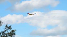 Rainbow kite flying against the sky stock video
