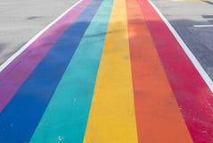 Rainbow coloured crosswalk for Pride Month on Church street in Toronto. Love is love stock photo