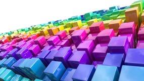 Rainbow coloured cubes Royalty Free Stock Image