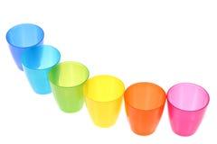 Rainbow-coloured glasses isolated on white Royalty Free Stock Photos