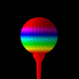 Rainbow coloured golf ball Royalty Free Stock Photography