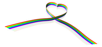Rainbow coloured heart shape ribbon Stock Photography