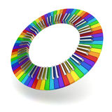 Rainbow coloured piano keyboard circle Royalty Free Stock Images
