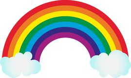 Rainbow colourful on empty background with clouds stock illustration