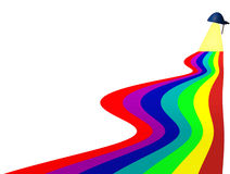 Rainbow of colours. Coming from a desktop lamp vector illustration