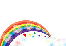Rainbow colours. With star designs by computer generated vector illustration