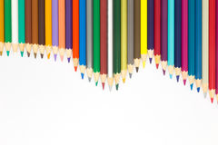 Rainbow colours of wooden pencils o. N white background Royalty Free Stock Image
