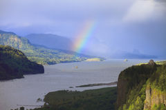 Rainbow in the Columbia Gorge Oregon. Stock Image