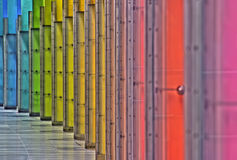 Rainbow Columns. A shot of some columns in rainbow colors Royalty Free Stock Image