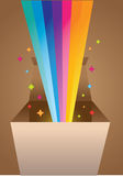 Rainbow coming out of box. Illustration of Vector Rainbow rays coming out of the box Royalty Free Stock Image