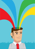 Rainbow Coming Out from Head Vector Illustration Stock Images