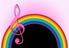 Rainbow con la nota di musica Fotografia Stock