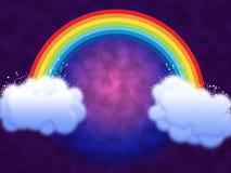 Rainbow con le nubi Immagine Stock