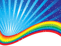 Rainbow concept image surround. Ed by stars on a blue nights sky Stock Image