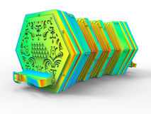 Rainbow concertina. 3D render illustration of a rainbow colored concertina. The composition is isolated on a white background with shadows Royalty Free Stock Photo
