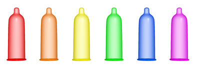 Rainbow condom. 3D rendering of a series of rainbow colored condom Stock Photography
