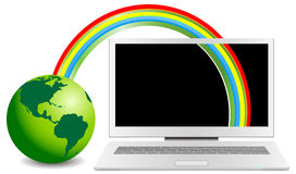 Rainbow connected green globe and notebook Royalty Free Stock Photography