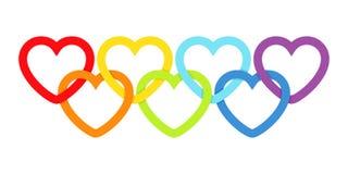 Rainbow connected hearts Stock Photos