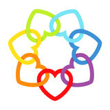 Rainbow connected hearts Royalty Free Stock Photo