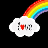 Rainbow on the corner and cloud in the sky. Dash line. Love card. LGBT sign symbol. Flat design. Black background. Vector illustration Stock Photography